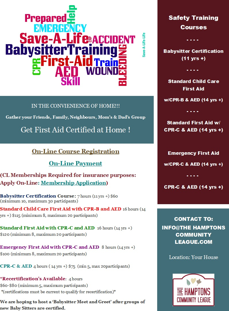 In Your Home First Aid Babysitter Courses The Hamptons